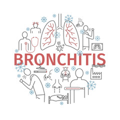 Bronchitis. Round banner. Symptoms, Treatment. Line icons set. Vector signs.