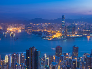 Hong Kong City landscape view before sunrise