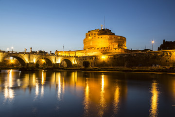 View of the Castle of St. Angel or the Mausoleum of Hadrian in the late evening, Italy