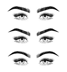 Eyebrow shaping for women face makeup.. 3 basic eyebrow shape types vector illustration. Fashion female brow