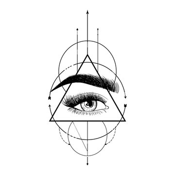 Blackwork tattoo flash. Eye of Providence. Masonic symbol. All seeing eye inside triangle pyramid. New World Order. Sacred geometry, religion, spirituality, occultism. Illustration of third eye sign