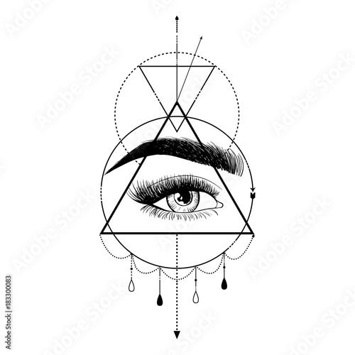 f78aa7bcd28f4 Beauty eye with eyebrow. Logo design template. Hand drawn vector  illustration - All seeing eye pyramid symbol. Freemason and spiritual.  Vintage
