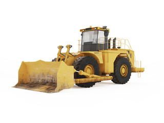 Big yellow bulldozer. 3D rendering