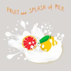 Vector illustration for ripe fruit red grapefruit