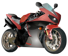 Vector red motorcycle on white background