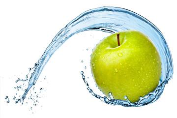 Green apple in water splash.