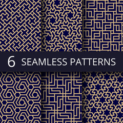 Arabic culture seamless vector patterns. Gold asian decoration repeat backgrounds