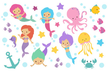 Cute cartoon mermaids, sea animals and ocean life objects vector set