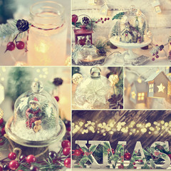 Christmas collage with retro style home decorations with color effect
