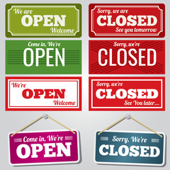 Open and closed vector store signs