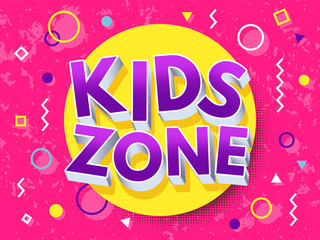 Kids zone cartoon inscription. Children playground vector concept