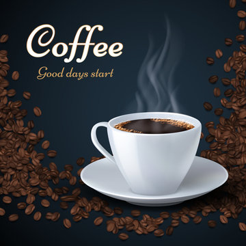 Aroma coffee beans and cup of hot coffee. Product ads vector background
