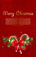 Christmas background with fir branches and candy cane decorated bow.