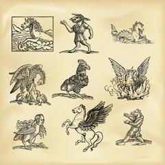 Vintage mythological creatures