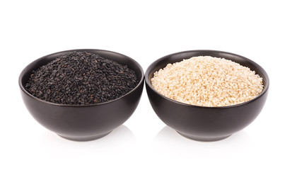 White and Black Sesame Seeds in bowl