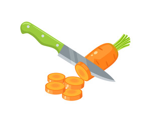 Cooking vegetables. Slicing carrot by knife. Vector illustration cartoon flat icon isolated on white.