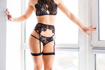 Woman wearing a lace lingerie