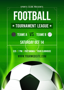 Football league tournament flyer invitation vector illustration, Soccer ball with football pitch background. (RGB Color)