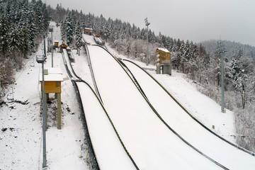 Aerial drone view on ski jump in Szczyrk