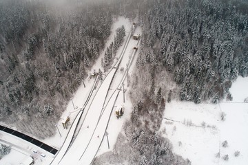 Aerial drone view on ski jump in Szczyrk