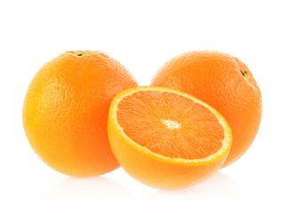 Wall Mural - Orange fruit slice on white background