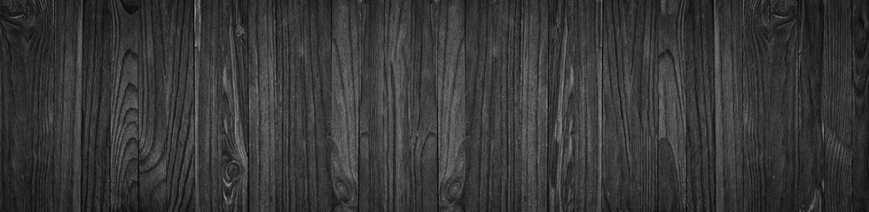 Black wooden boards table or floor, blank wood background