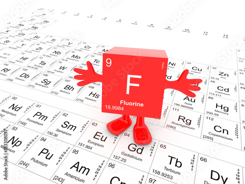 Fluorine Element Symbol Up On White Periodic Table Happy Red Cube