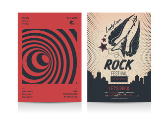 Set of Rock Music Flyer Layout templates. Mockup Vector illustration.