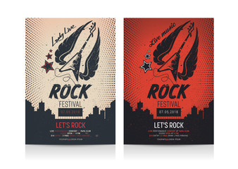 Set of Rock Festival Flyer templates. Mockup Vector illustration.