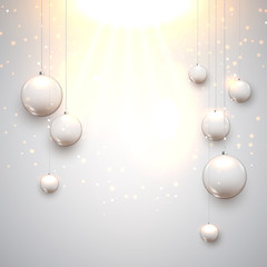 Christmas glass balls decoration with stars. Holiday celebration balls for xmas with light