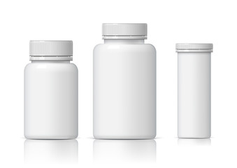 Cool Realistic White plastic bottle set.