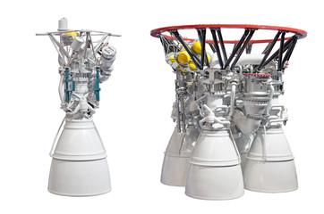 Rocket engines, engine with one nozzles and engine with four nozzles. Isolated on white backgroung