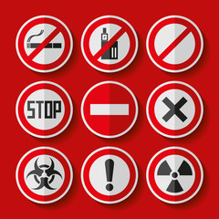 Prohibition sign icons set in flat style on red background, danger emblems, vector design illustration for you project
