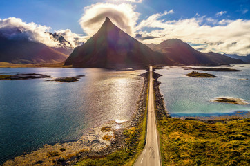 Wall Mural - Aerial view of a scenic coastal road on Lofoten islands in Norway