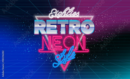 80s, eighties retro neon style banner  Retro style disco design neon