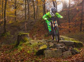 Fahrrad Rennen über Steine auf Downhill Strecke mit Mountainbike