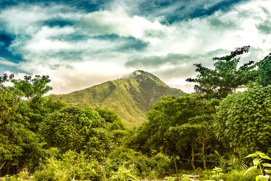 green volcano mountain in amed, bali. indonesia