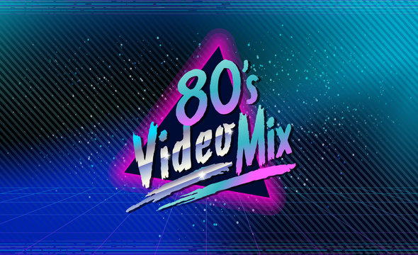 80's video mix. Retro style disco design neon. 80's party, 80s fashion, 80s background, 80s graphic, 80s style, disco party 1980, club vintage, dance night. Easy editable for Your design.