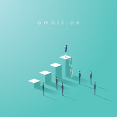 Business woman ambition and leadership vector concept. Businesswoman standing on top of graph as symbol of emancipation, equality, gender, feminism in business.