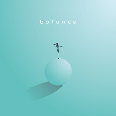 Balance concept in business vector. Symbol of work life balance, stability, success and challenge.