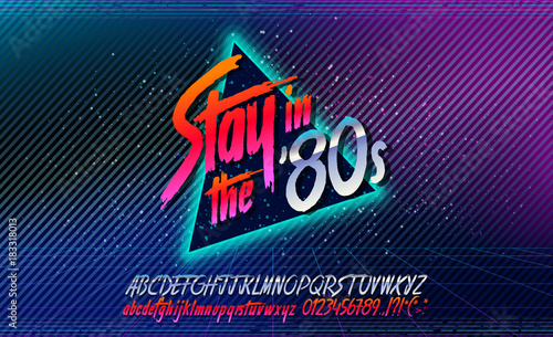 80s, Stay in the 80's  Retro alphabet font banner  Alphabet vector