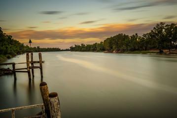 Sunset over Murray river in Mildura, Australia