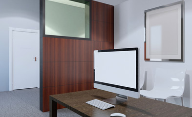 Modern meeting room. 3D rendering.. Empty picture