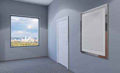 Closed doors in a modern office. 3D rendering. Empty picture