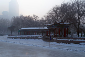frozen lake in people's park Urumqi China