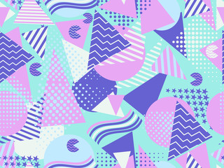 Memphis seamless pattern. Geometric elements memphis in the style of 80s. Vector illustration