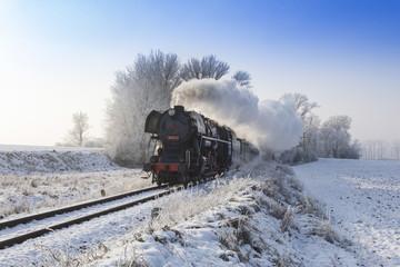 vintage locomotive in snow land