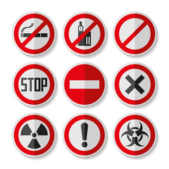 Prohibition sign icons set in flat style on white background, danger emblems, vector design illustration for you project