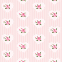 Cute seamless vintage pattern with hearts in shabby chic style