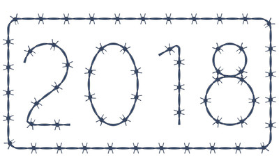 Barbed wire 2018 lettering